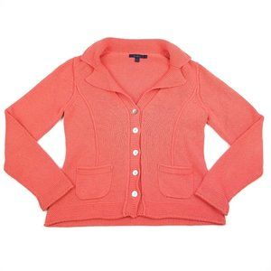 BODEN Coral Orange Button Down Cardigan Sweater 12